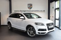 USED 2013 62 AUDI Q7 3.0 TDI QUATTRO S LINE PLUS 5DR 7 SEATER AUTO 245 BHP full service history IBIS WHITE WITH FULL BLACK LEATHER INTERIOR + FULL BLACK LEATHER INTERIOR + SATELLITE NAVIGATION + BLUETOOTH + HEATED SPORT SEATS + CRUISE CONTROL + 7 SEATER + RAIN SENSORS + HEATED MIRRORS + PARKING SENSORS + 21 INCH ALLOY WHEELS