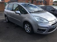 USED 2013 13 CITROEN C4 GRAND PICASSO 1.6 PLATINUM EGS E-HDI 5d AUTO 110 BHP AUTOMATIC 7 SEATER WITH GOOD SPECIFICATION , PANORAMIC ROOF, CLIMATE CONTROL, PRIVACY GLASS , PARKING SENSORS, AND 17 INCH ALLOY WHEELS!!.ONLY 13368 MILES WITH FULL HISTIORY AND 3 SERVICES!!  CHEAP TO RUN AND EXCELLENT FUEL ECONOMY!!