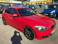 2012 BMW 1 SERIES 1.6 114I SPORT 5 DOOR 101 BHP IN RED WITH ONLY 42000 MILES IN IMMACULATE CONDITION. £8799.00