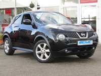 USED 2011 11 NISSAN JUKE 1.6 ACENTA 5d 117 BHP STUNNING and FUNKY Looking, 1 Owner, NISSAN JUKE 1.6 ACENTA 5 DOOR HATCH. Finished in Super Black Pearl with contrasting Grey Cloth interior. The Nissan Juke first appeared in 2010 and has remained a favourite with its eye catching looks. Ideal Mid Sized family car. Features include Alloys, Climate, Low miles and Blue Tooth