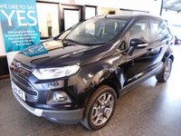 USED 2014 14 FORD ECOSPORT 1.0 TITANIUM X-PACK 5d 124 BHP This Panther Black metallic Ford EcoSport Titanium X Pack 1.0T SUV is finished with black with red stitching leather seats. It is fitted with power steering, remote locking, electric windows and mirrors, climate controlled/air conditioning, led side lights, daylights, Bluetooth phone, start stop, fogs, alloy wheels, CD Stereo with Aux & USB port and more. It has been privately owned from new and comes with a full Ford service history.