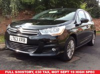 USED 2013 63 CITROEN C4 1.6 VTR PLUS HDI 5d 115 BHP FULL SERVICE HISTORY, MOT SEPT 19.  £30 ROAD TAX, FULLY PREPARED, EXCELLENT CONDITION,  ALLOYS, CRUISE, CLIMATE, E/WINDOWS, R/LOCKING, FREE  WARRANTY, FINANCE AVAILABLE, HPI CLEAR, PART EXCHANGE WELCOME,
