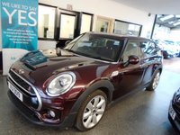 "USED 2016 MINI CLUBMAN 2.0 COOPER SD 5d AUTO 188 BHP This Number plate stays with the car!  Fitted with a Chilli pack, this fully automatic with paddle shift gear change 188 BHP Mini Cooper SD Clubman is finished classily in pure burgundy along with Black half leather. It is fitted with  John Cooper Works steering wheel (multi function) power steering, remote locking, 4 electric windows and mirrors, climate control, cruise control, heated front seats, Satellite Navigation, Park distance control, Bluetooth,  LED daylights, 18"" alloy wheels & More."