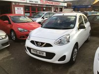 USED 2015 11 NISSAN MICRA 1.2 VISIA 5d 79 BHP White, low road tax, economical, great value, superb.