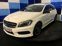 """USED 2014 14 MERCEDES-BENZ A CLASS 2.1 A220 CDI BLUEEFFICIENCY AMG SPORT 5d AUTO 170 BHP A truely stunning example of this very highly regarded family sporty diesel automatic finished in probably the best colour of cirrus white further complemented with 18""""amg  black/silver finish alloys,This car looks and drives superbly comming with all the usual refinements plus cruise control and speed limiter ,proximaty warning ,climate control, 18"""" alloys .half leather/alcantara sports seats with red stitching truely gorgeous. This car returns a very creditable combined 64.2 mpg ,road tax £20"""