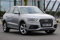 USED 2014 64 AUDI Q3 2.0 TDI QUATTRO S LINE 5d AUTO 175 BHP STUNNING FLORET SILVER METALLIC PAINT, HALF BLACK LEATHER S LINE TRIM, CRUISE CONTROL,SD BASED SAT NAV, COMFORT PACK, 18 INCH 5 SPOKE OFF ROAD DESIGN ALLOY WHEELS, XENON LIGHTS, BIG SPEC STUNNING 4X4