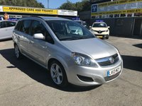 2013 VAUXHALL ZAFIRA 1.6 EXCLUSIV 5 DOOR 113 BHP IN SILVER WITH ONLY 36500 MILES. £5999.00