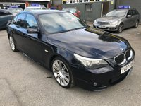 2007 BMW 5 SERIES 3.0 530D AC 4 DOOR AUTOMATIC M SPORT 232 BHP IN BLACK WITH 111000 MILES. £5999.00