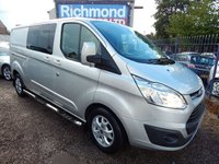 USED 2014 14 FORD TRANSIT CUSTOM 2.2 290 LIMITED LR DCB 1d 124 BHP 6 SEATER, FULL SERVICE HISTORY, GREAT VALUE VAN