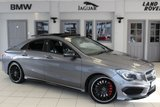 USED 2014 14 MERCEDES-BENZ CLA 2.0 CLA45 AMG 4MATIC 4d 360 BHP FULL NAPPA BLACK LEATHER SEATS + FULL SEVICE HISTORY + COMAND SATELLITE NAVIGATION + PANORAMIC ROOF + HEATED FRONT SEATS + REVERSE CAMERA + PREMIUM PLUS PACK + XENON HEADLIGHTS + MEMORY SEATS + 18 INCH ALLOYS + DAB RADIO