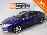 USED 2015 15 FORD MONDEO 2.0 TITANIUM TDCI 5d 148 BHP AMAZING CAR ,  THIS THE BEST SPEC CAR I HAVE EVER ADVERTISED ITS ONE OWNER WITH FULL HISTORY IN AMAZING METALLIC BLUE IT HAS KEY LESS ENTREE, DRL HEAD LAMPS, 19INCH ALLOYS ,FULL HEATED LEATHER ELEC MEMORY SEATS, ELEC FOLDING HEATED MIRRORS, CRUSE CONTROL, LANE ASSIST, SAT NAV, DAD RADIO WITH AUX, USB, SD, BLUE TOOTH PHONE,LEATHER                for more Information Please Call Now on 0151525 4400,  07967141248. Family Run Business Since 1990
