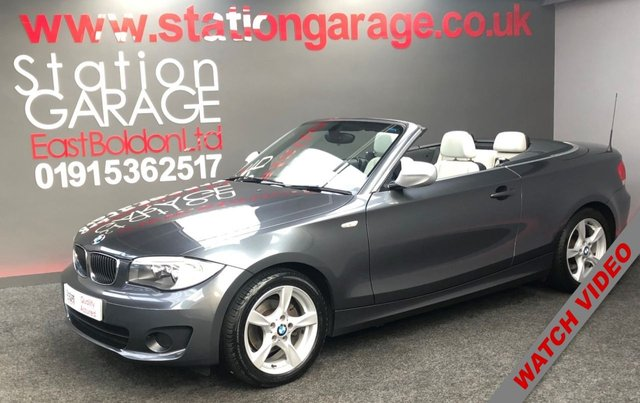 USED 2013 13 BMW 1 SERIES 2.0 118D EXCLUSIVE EDITION 2d 141 BHP HEATED LEATHER METALLIC GREY CONVERTIBLE WITH GREY LEATHER AND GREY DENIM LOOK ROOF MUST BEST THE BEST COLOUR COMBINATION CAR AVAILABLE, CAR IS AS NEW CONDITION