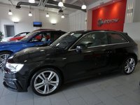 USED 2015 65 AUDI A3 2.0 TDI S LINE NAV 3d 150 S/S £20 TAX, 1 OWNER FROM NEW, UPGRADE CRUISE CONTROL, SAT NAV, DAB DIGITAL RADIO, BLUETOOTH W/ AUDIO STREAMING, BI XENONS W/ LED DAYTIME RUNNING LIGHTS, LED OPTIC TAIL LIGHTS, AUDI DRIVE SELECT, AUDI MUSIC INTERFACE, SD READER X2, TYRE PRESSURE MONITORING SYSTEM, LEATHER FLAT BOTTOM MULTI FUNCTION STEERING WHEEL, DUAL ZONE CLIMATE A/C, DIS W/ DIGI SPEED DISPLAY, SDS VOICE COMMAND, ELECTRIC WINDOWS, ELECTRICALLY ADJUSTABLE HEATED DOOR MIRRORS, BLACK CLOTH HEADLINING, FRONT FOGS, VAT QUALIFYING.