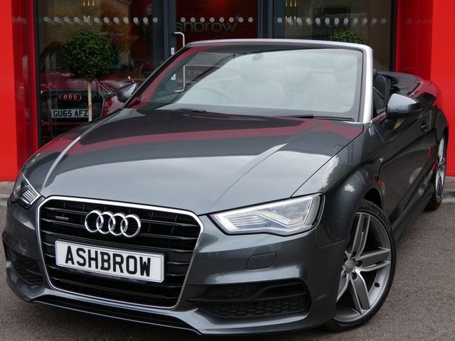 USED 2015 65 AUDI A3 CABRIOLET 2.0 TDI QUATTRO S LINE 2d AUTO 185 S/S OVER £5600 OF OPTIONAL EXTRAS, UPGRADE SAT NAV, UPGRADE 19 INCH WING DESIGN ALLOYS, UPGRADE HEATED FRONT SEATS, UPGRADE FINE NAPPA LEATHER INTERIOR, UPGRADE CRUISE CONTROL, UPGRADE HEAD LEVEL HEATING (AIR SCARF), UPGRADE LED HEADLAMPS, UPGRADE LED REAR LIGHTS, UPGRADE REAR PARKING SENSORS, UPGRADE COMFORT PACK INCLUDING LIGHT & RAIN SENSORS WITH AUTO DIMMING REAR VIEW MIRROR & WINDSCREEN SUN BAND, DAB RADIO, BLUETOOTH PHONE & MUSIC STREAMING, AMI, 1 OWNER, FULL SERVICE HISTORY, CAMBELT CHANGED