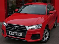USED 2015 65 AUDI Q3 2.0 TDI SE 5d 150 S/S UPGRADE SAT NAV, UPGRADE BLACK ROOF RAILS, UPGRADE CRUISE CONTROL, REAR PARKING SENSORS, DAB RADIO, BLUETOOTH PHONE & MUSIC STREAMING, AUDI DRIVE SELECT, MANUAL 6 SPEED GEARBOX, START STOP TECHNOLOGY, 17 INCH 5 ARM ALLOYS, LED XENON LIGHTS, HEADLAMP WASHERS, GREY CLOTH INTERIOR, SPORT SEATS WITH ELECTRIC LUMBAR SUPPORT, LEATHER MULTIFUNCTION STEERING, AUTO LIGHTS & WIPERS, AUDI MUSIC INTERFACE FOR IPOD / USB DEVICES (AMI), DUAL CLIMATE AIR CON, £30 ROAD TAX (119 G/KM), 1 OWNER, FULL SERVICE HIST