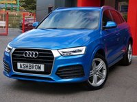 USED 2015 65 AUDI Q3 2.0 TDI QUATTRO S LINE PLUS 5d 185 S/S UPGRADE LIGHTING PACK, SAT NAV, BLACK LEATHER ALCANTARA INTERIOR, PARKING SYSTEM FRONT & REAR WITH DISPLAY, CRUISE CONTROL, ELECTRIC HEATED POWER FOLDING DOOR MIRRORS, DAB RADIO, BLUETOOTH PHONE & MUSIC STREAMING, ELECTRIC TAILGATE, AUDI DRIVE SELECT, 19 INCH 5 SEGMENT SPOKE ALLOYS, LED XENON LIGHTS, PRIVACY GLASS, SPORT SEATS WITH ELECTRIC LUMBAR SUPPORT, AUTO LIGHTS & WIPERS, AUTO DIMMING REAR VIEW MIRROR, AUDI MUSIC INTERFACE, 1 OWNER, FULL AUDI HISTORY