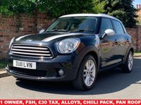 USED 2011 11 MINI COUNTRYMAN 1.6 COOPER D 5d 112 BHP 1 OWNER, FULL SERVICE HISTORY, 1YR MOT,  £30 ROAD TAX, CHILLI PACK, HEATED 1/2 LEATHER, PANORAMIC ROOF, ALLOYS, AIR CON, BLUETOOTH, CRUISE, E/WINDOWS, R/LOCKING, FREE  WARRANTY, FINANCE AVAILABLE, HPI CLEAR, PART EXCHANGE WELCOME,