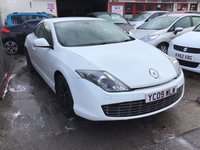 USED 2009 09 RENAULT LAGUNA 2.0 GT DCI FAP 3d 180 BHP Diesel, GT coupe, white, black leather, black alloys, superb.