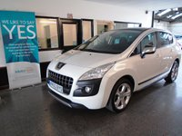 USED 2013 63 PEUGEOT 3008 1.6 ALLURE HDI FAP 5d 115 BHP This 3008 Allure is finished in metallic pearl white with Black cloth seats. It is fitted with Panoramic roof, Peugeot Bluetooth and heads up display, park assist, auto lights, cruise control with distance warning, chrome pack, power steering, remote locking, electric windows and mirrors, alloy wheels, CD Stereo/aux port and more. It has had 2 owners from new, has just had new front discs and pads fitted as well as rear brake pads and a tyre. It comes with a full Peugoet service history,
