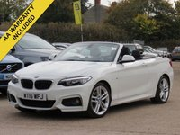USED 2015 15 BMW 2 SERIES 2.0 220D M SPORT 2d 188 BHP FULL LEATHER, HEATED SEATS + FULL BMW SERVICE HISTORY