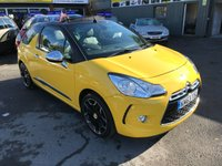 USED 2013 63 CITROEN DS3 1.6 DSPORT PLUS 3d 155 BHP CABRIOLET IN YELLOW WITH ONLY 19600 MILES APPROVED CARS ARE PLEASED TO OFFER THIS  CITROEN DS3 1.6 DSPORT PLUS 3d 155 BHP CABRIOLET IN YELLOW WITH ONLY 19600 MILES IN IMMACULATE CONDITION INSIDE AND OUT WITH A GREAT SPEC INCLUDING  A FULL BLACK LEATHER INTERIOR,6 SPEED GEARBOX,ALLOY WHEELS,BLUETOOTH,SAT NAV,REAR PARKING SENSORS,ELECTRIC SOFT TOP,FOLDING MIRRORS AND MUCH MORE WITH A FULL SERVICE HISTORY SERVICED AT 8K,13K AND 17K A TRULY STUNNING DS3 CONVERTIBLE WITH A GREAT SPEC