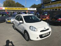 2011 NISSAN MICRA 1.2 ACENTA 5d 79 BHP IN WHITE WITH ONLY 29000 MILES IN IMMACULATE CONDITION. £4199.00
