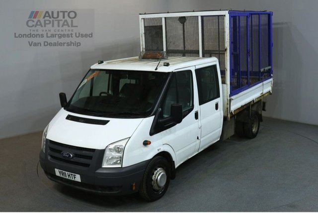 2011 11 FORD TRANSIT 2.4 350 100 BHP LWB  D/CAB TWIN WHEEL CAGE COMBI TIPPER ONE OWNER 7 FOOT 10 BED LENGTH