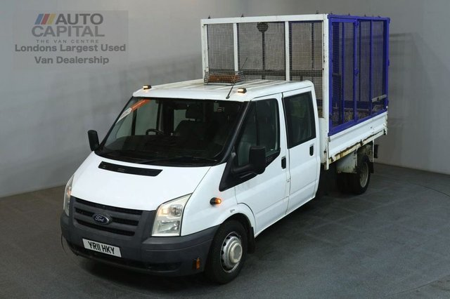 2011 11 FORD TRANSIT 2.4 350 100 BHP LWB  D/CAB 6 SEATER CAGE COMBI TIPPER ONE OWNER SPARE KEY FULL S/H
