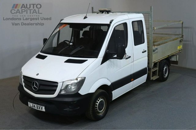 2014 14 MERCEDES-BENZ SPRINTER 2.1 313 CDI D/C MWB ECO 129 BHP 6 SEATER TIPPER TWO OWNER ECO