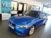 USED 2014 14 BMW 3 SERIES 3.0 330D M SPORT 4d AUTO 255 BHP This Estoril Blue Metallic 2 owner 255 BHP 330d M Sport is only £120 to tax!  MOT expires 05/10/2019 & includes 6 months Warranty Inclusive (extendable) 2 keys Present. It has an extensive full BMW service history,  finished in Estoril Blue metallic with black Dakota leather upholstery. Other options include Paddle shift, front and rear park assist, dual Zone Climate Control, DAB Radio and much more. Finance is available. This car has the M Sport kit and looks stunning in Estoril Blue.