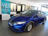 USED 2012 12 HONDA CIVIC 2.2 I-DTEC ES 5d 148 BHP Two owners, full service history- seven stamps, June 2019 Mot. Finished in Metallic Deep Sapphire Blue.