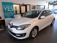 USED 2014 64 RENAULT MEGANE 1.5 DYNAMIQUE TOMTOM ENERGY DCI S/S 5d 110 BHP This £0 to tax Megane Estate is finished in White with Black cloth seats. It is fitted with power steering, remote locking, electric windows and mirrors, dual zone climate control, cruise control, rear parking sensors, LED Daylights, Sat Navigation, Bluetooth, alloy wheels, CD Stereo with USB & Aux port and more. It has been owned by one local company and comes with a full service history in the form of a digital printout.