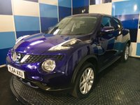 "USED 2015 64 NISSAN JUKE 1.5 ACENTA DCI 5d 110 BHP A stunning example of this very highly regarded diesel family crossover finished in unmarked metallic ink blue,contrasted with 17"" 5 twin spoke alloy wheels ,this car comes equipped with bluetooth phone preparation,climate control,rear parking sensors,cruise control with speed limiter option,tyre pressure monitoring system,stop start facility,cd radio with usb and aux imputs plus all the usual refinements. This car returns a very impressive combined ecconomy of 70.6 mpg plus £20 a year road tax"