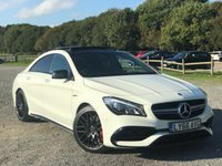 USED 2016 66 MERCEDES-BENZ CLA 2.0 AMG CLA 45 4MATIC 4d AUTO 375 BHP FULL MERCEDES SERVICE HISTORY NAVIGATION  CAR PLAY  PANRAMIC ROOF  ELECTRIC MEMORY SEATS  REAR CAMERA  FRONT AND REAR PARKING SENSORS
