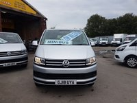 USED 2018 18 VOLKSWAGEN TRANSPORTER SHUTTLE 2.0 T32 TDI SHUTTLE LWB 2018/18 LEATHER & SAT NAV LOW MLS ( 2018/18 REG T6 SHUTTLE 9 SEAT MINIBUS )