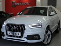 USED 2014 64 AUDI Q3 2.0 TDI QUATTRO S LINE 5d 140 S/S FULL SERVICE HISTORY, 1 OWNER FROM NEW, UPGRADE 18 INCH 5 SEGMENT ALLOY WHEELS, AUDI MUSIC INTERFACE FOR IPOD / USB DEVICES (AMI), BLUETOOTH W/ AUDIO STREAMING, REAR PARKING SENSORS, QUATTRO 4 WHEEL DRIVE, XENON LIGHTS W/ LED DRL, ALUMINIUM ROOF RAILS, BLACK 1/2 LEATHER SPORT SEATS W/ ELECTRIC LUMBAR SUPPORT, LEATHER 3 SPOKE SPORTS MULTIFUNCTION STEERING WHEEL, AUTO LIGHTS & WIPERS, DUAL CLIMATE AIR CON, ELECTRIC HEATED MIRRORS, TYRE PRESSURE MONITOR, 2x SD CARD READERS, ISO FIX, VAT QUALIFYING.