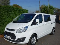 USED 2016 66 FORD TRANSIT CUSTOM 310 LIMITED L2 LWB DCIV CREWVAN 2.0 TDCI 130 BHP Direct From Premier Leasing Company, Top Of Range Model With Many Additional Extras! Full Specification Includes-
