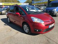 2008 CITROEN C4 GRAND PICASSO 1.6 EXCLUSIVE HDI EGS 5 DOOR AUTO 110 BHP IN METALLIC RED WITH 7 SEATS £3499.00