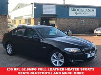 2012 BMW 5 SERIES 2.0 520D EFFICIENTDYNAMICS BLACK SAPPHIRE LEATHER SPORTS SEATS 4d 181 BHP £9495.00