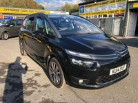 2014 CITROEN C4 GRAND PICASSO 1.6 E-HDI AIRDREAM EXCLUSIVE 5 DOOR 113 BHP IN BLACK WITH REVERSE CAMERA AND SAT NAV. £8299.00