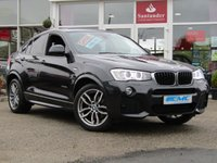 USED 2015 65 BMW X4 2.0 XDRIVE20D M SPORT 4d AUTO 188 BHP STUNNING, 1 OWNER, BMW X4 2.0D XDRIVE M SPORT, AUTO. A FABULOUS looking car finished in SOPHISTO GREY MET with contrasting black heated leather. This is a well presented family all rounder. This X4 looks good, drives great and is fun to drive. Features include SAT NAV, REVERSING CAMERA, DAB, HARMAN KARDON SPEAKERS, CRUISE and much more.