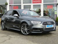 USED 2016 66 AUDI A3 2.0 S3 SPORTBACK QUATTRO 5d AUTO 306 BHP ABSOLUTELY STUNNING, 1 Owner, Low mileage, AUDI S3 QUATTRO 2.0 TURBO CHARGED 306bhp. Finished in DAYTONA GREY pearl with contrasting grey full heated SPORTS LEATHER seats. This 4x4 S3 has an advanced 2.0 turbocharged petrol engine pumping out 306 BHP, blistering performance with arguably the highest quality interior in its class. Features include Sat Nav, Full Heated Leather, DAB, B/tooth, LED day run lights, Park Senors and Cruise.