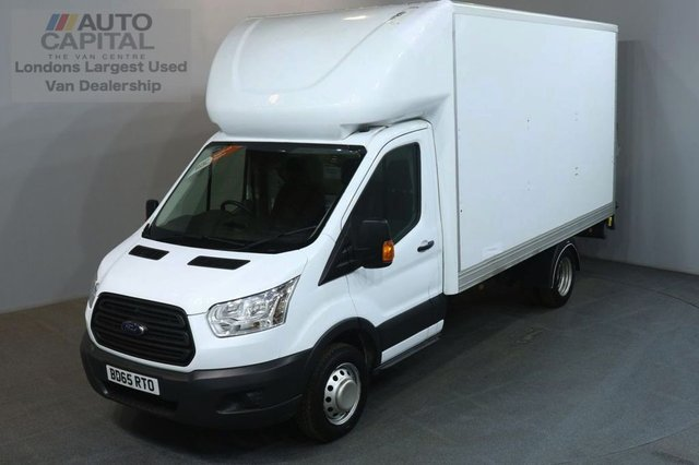 2015 65 FORD TRANSIT 2.2 350 124 BHP LWB RWD WITH TAIL LIFT LUTON VAN TWIN WHEELER 13 FOOT BED