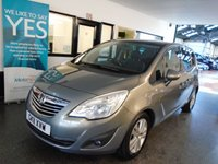 USED 2011 11 VAUXHALL MERIVA 1.4 SE 5d 119 BHP This 22500 mile new shape Meriva is finished in metallic pepper dust paint with Black leather & cloth seats. It is fitted with power steering, front and rear park sensors, glass roof (non opening) ,cruise control, remote locking, electric windows and mirrors, air conditioning, alloy wheels, CD Stereo with UBS/Aux port and more. It has had two owners from new, Motability finance and one male and comes with a full service history which are Vauxhall & T J Evers.