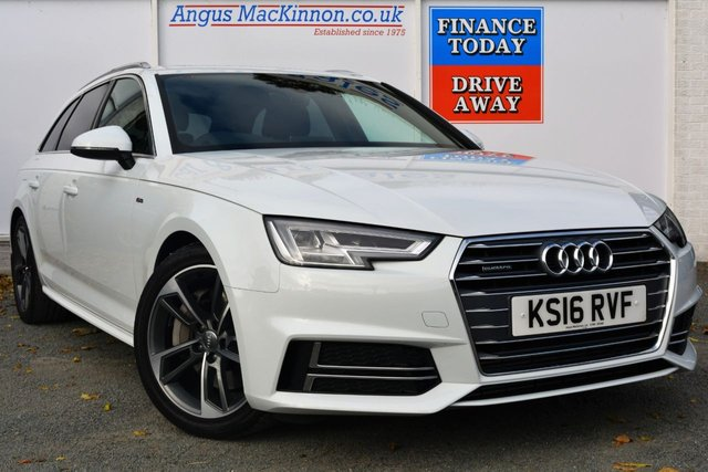 2016 16 AUDI A4 3.0 AVANT TDI 4x4 QUATTRO S LINE 5d Estate Stunning in White with Upgraded Audi Alloys and 268 BHP Exhilarating Performance