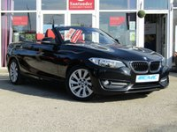 USED 2015 65 BMW 2 SERIES 1.5 218I SPORT 2d 134 BHP STUNNING, 1 OWNER, 65 plate, BMW 218I SPORT 1.5 CONVERTIBLE. Finished in Black Sapphire with contrasting RED DAKOTA LEATHER. If Style and comfort is important to you then look no further. The BMW 2 series Convertible is one of the most desirable models of its class. Features include, Sat Nav, Red  dakota leather, DAB radio and much more.