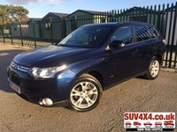 USED 2013 63 MITSUBISHI OUTLANDER 2.3 DI-D GX 4 5d 147 BHP ALLOYS PRIVACY PARKING SENSORS SATNAV CRUISE FSH SUNROOF A/C MOT 09/19 4WD. 7 SEATER. SATELLITE NAVIGATION. STUNNING BLUE MET WITH FULL BLACK LEATHER TRIM. ELECTRIC HEATED SEATS. CRUISE CONTROL. 18 INCH ALLOYS. COLOUR CODED TRIMS. PRIVACY GLASS. PARKING SENSORS. SUNROOF. REVERSING CAMERA. BLUETOOTH PREP. CLIMATE CONTROL INCLUDING AIR CON. TRIP COMPUTER. R/CD/MP3 PLAYER. 6 SPEED MANUAL. MFSW. MOT 09/19. FULL SERVICE HISTORY. SUV & 4X4 CAR CENTRE LS23 7FR. TEL 01937 849492 OPTION 2