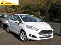 USED 2014 64 FORD FIESTA 1.2 ZETEC 5d 81 BHP FULL SERVICE HISTORY, LONG MOT, GREAT SPEC INCLUDING BLUETOOTH, ALLOY WHEELS, USC/AUX, AIR CONDITIONG