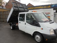 USED 2014 14 FORD TRANSIT 2.2 350 DRW  DOUBLE CAB SIX SEATS  ALLOY ONE STOP TIPPING BODY TOW BAR 125 BHP  76,000 ONE OWNER VERY CLEAN ONE OWNER TIPPER  CREW CAB TIPPER SIX SEATS