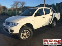 USED 2012 61 MITSUBISHI L200 2.5 DI-D 4X4 4WORK LB DCB 1d 134 BHP CHROME BARS NO VAT NO VAT. 4WD. STUNNING WHITE WITH BLACK CLOTH TRIM. 16 INCH ALLOYS. CHROME BARS. COLOUR CODED TRIMS. PAS. R/CD PLAYER. MFSW. TOWBAR. MOT 03/19. SERVICE HISTORY. AGE/MILEAGE RELATED SALE. PICK-UP & VAN CENTRE- LS23 7FQ. TEL 01937 849492 OPTION 3